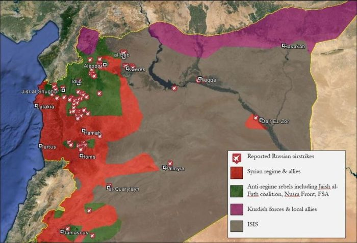 Map Syria Russian Bombing